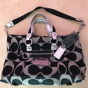 Black and silver poppy Coach bag